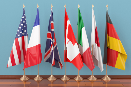 Flags of all members G7, 3D rendering 스톡 콘텐츠