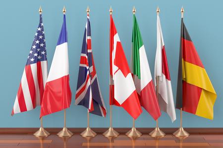 Vlaggen van alle leden G7, 3D-rendering Stockfoto