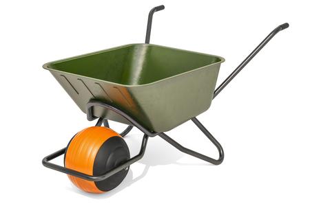 Ballbarrow, modern wheelbarrow. 3D rendering isolated on white background Фото со стока