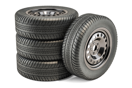 Car Wheels, 3D rendering isolated on white background