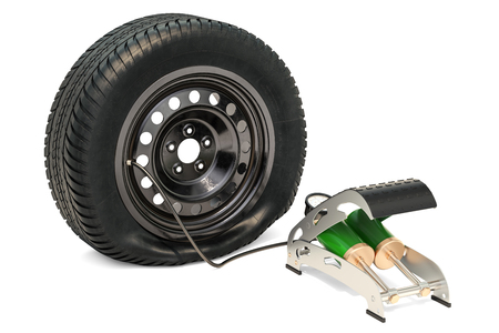 Puncture car wheel with high pressure air foot pump, 3D rendering isolated on white background