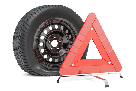 Punctured car wheel with emergency warning triangle. 3D rendering