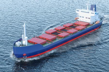 Freighter ship with coal sailing in ocean, 3D rendering 写真素材
