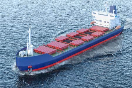Freighter ship with coal sailing in ocean, 3D rendering