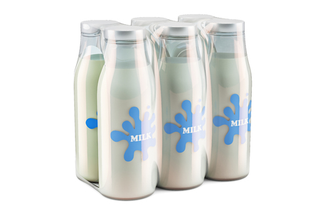Package of glass milk bottles in shrink film, 3D rendering isolated on white background Banque d'images