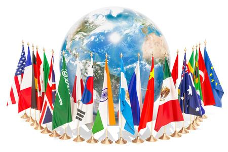Concepto de comunicación global internacional con banderas alrededor del globo terráqueo, representación 3D aislada en el fondo blanco Foto de archivo