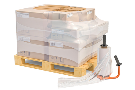Manual film stretch wrapping machine and wooden pallet with parcels wrapped in the stretch film, 3D rendering