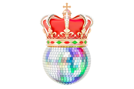 Mirror disco ball with royal crown, 3D rendering isolated on white background Banco de Imagens