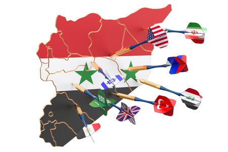 Syrian political and war conflict concept, 3D rendering  Stock Photo