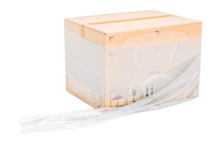 Parcel wrapped in the stretch film, 3D rendering 版權商用圖片