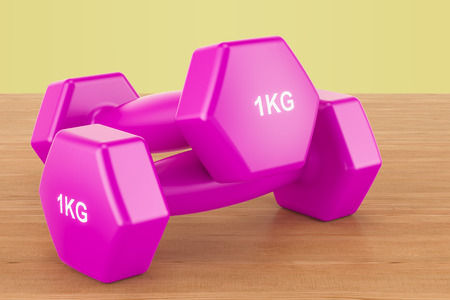 Fitness purple dumbells on the woden background, 3D rendering Stock Photo