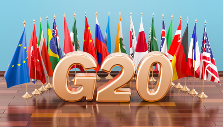 G20 meeting concept, flags of all members G20. 3D rendering Banco de Imagens - 99462286