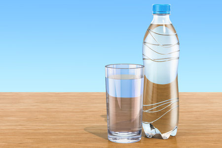Plastic water bottle with glass of water on the wooden table. 3D rendering Stock Photo