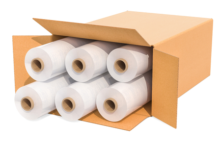 Rolls of wrapping plastic stretch films in cardboard box, 3D rendering