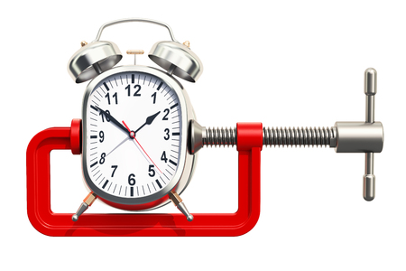 Alarm clock squeezed in a clamp concept, 3D rendering isolated on white background
