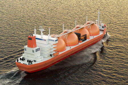 Gas carrier, gas tanker sailing in ocean. 3D rendering Stock Photo