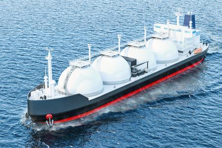 Bateau-citerne à gaz naviguant dans l'océan, rendu 3d Banque d'images