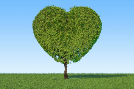 Tree in the shape of heart on the green grass against blue sky, 3D rendering  Stock Photo