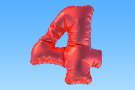 Number 4, red foil balloon in the sky. 3D rendering