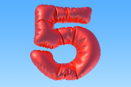 Number 5, red foil balloon in the sky. 3D rendering Stock Photo