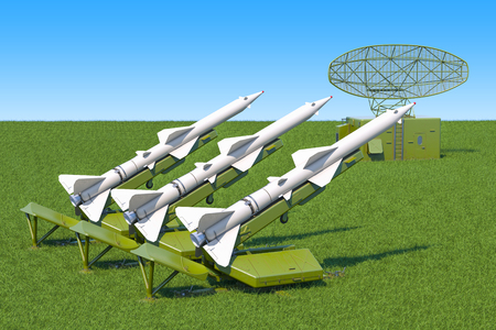 Missile defence system with radar on the green grass against blue sky, 3d rendering