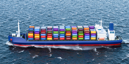 Freighter ship with cargo containers, 3D rendering