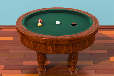 Elliptical billiards table with balls in room on the wooden floor, 3D rendering   Stock Photo
