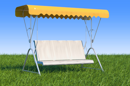 Garden swing with canopy in the green grass against blue sky, 3D rendering