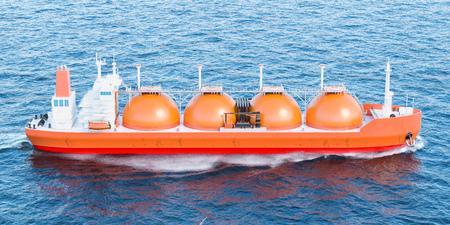 Gas tanker sailing in ocean. 3D rendering
