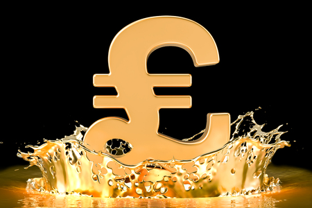 Golden pound sterling symbol with gold splashing, 3D rendering