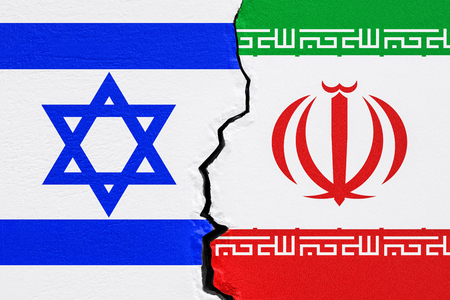 Israel and Iran political conflict concept. 3D rendering