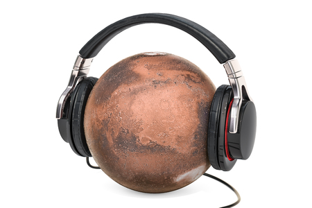 Mars with Headphones, 3D rendering isolated on white background