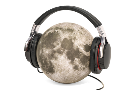 Moon with Headphones, 3D rendering isolated on white background Stock Photo