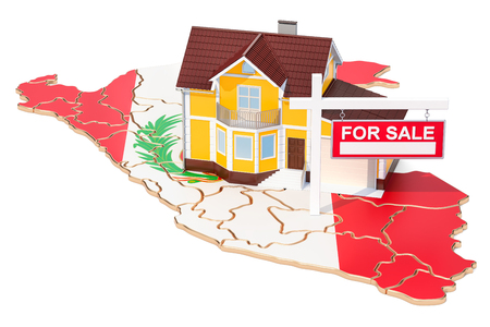 Property for sale and rent in Peru concept. Real Estate Sign, 3D rendering isolated on white background
