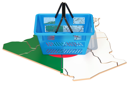 Shopping basket on Algerian map, market basket or purchasing power in Algeria concept. 3D rendering