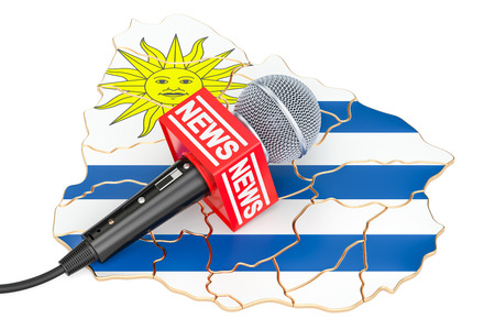Uruguayan News concept, microphone news on the map of Uruguay. 3D rendering