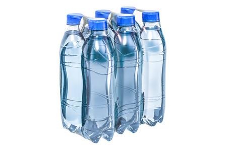 Botellas de agua envueltas en la película retráctil, representación 3D aislada en el fondo blanco Foto de archivo