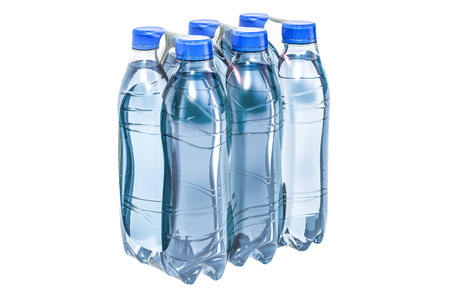 Water bottles wrapped in the shrink film, 3D rendering isolated on white background 免版税图像