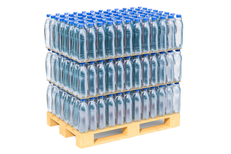 Wooden pallet with water bottles wrapped in the shrink film, 3D rendering isolated on white background Stok Fotoğraf