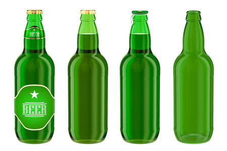 Beer bottles with label, full and empty. 3D rendering isolated on white background Stock Photo