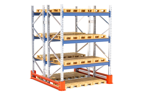 Double pallet rack. 3D rendering isolated on white background