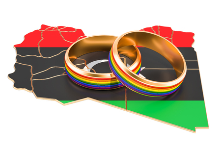 Libyan map with LGBT rainbow rings, 3D rendering Stock Photo