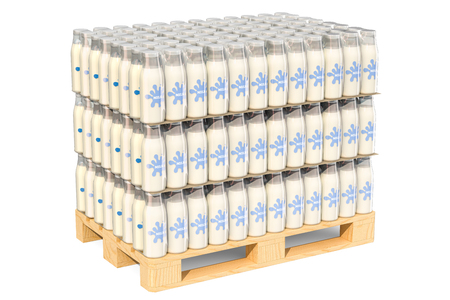 Packages of glass milk bottles in shrink film on the wooden pallet, 3D rendering isolated on white background
