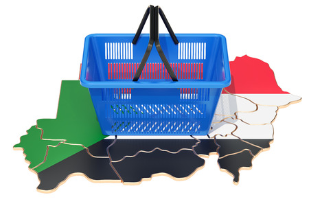 Shopping basket on Sudanese map, market basket or purchasing power in Sudan concept. 3D rendering Stock Photo