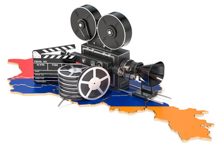 Armenian cinematography, film industry concept. 3D rendering isolated on white background Stock Photo