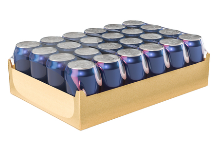 Package of metallic drink cans in shrink film, 3D rendering Stock Photo