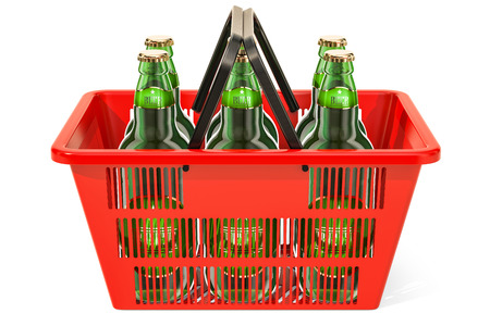 Shopping basket with beer bottles. 3D rendering isolated on white background