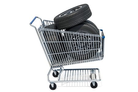 Shopping cart with car wheels, 3D rendering isolated on white background Stockfoto