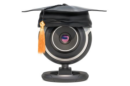 Online education concept, webcam with graduation cap. 3D rendering Stock Photo