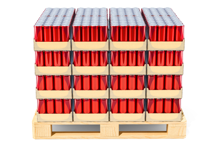 Wooden pallet full of drink metallic cans in shrink film, 3D rendering isolated on white background